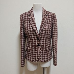 💰 peck & peck blazer jacket red pink tan us 6
